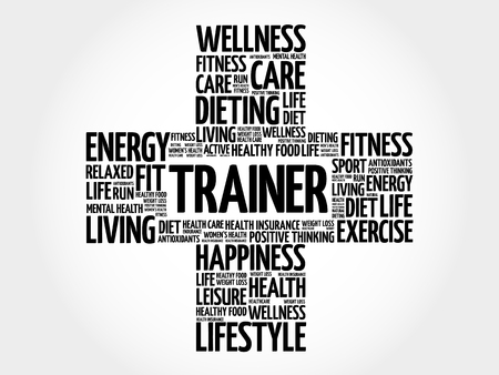 Trainer word cloud collage, health cross concept  イラスト・ベクター素材