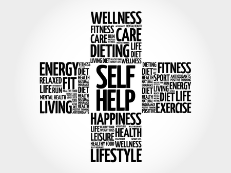 Self Help word cloud, health cross concept Illustration