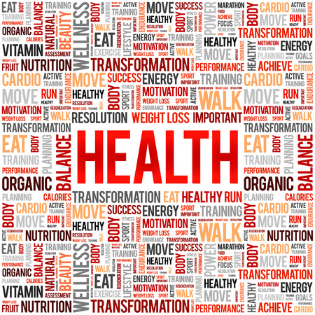 HEALTH word cloud collage, concept background Çizim