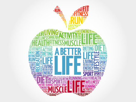 A Better Life apple word cloud, health concept 일러스트