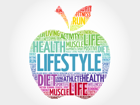 LIFESTYLE apple word cloud, health concept Illustration