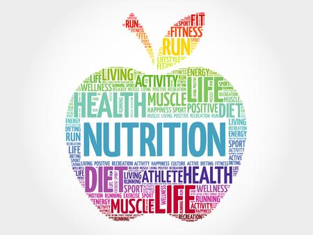 Nutrition apple word cloud, health concept Stock Illustratie