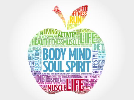 Body Mind Soul Spirit apple word cloud, health concept Vektoros illusztráció