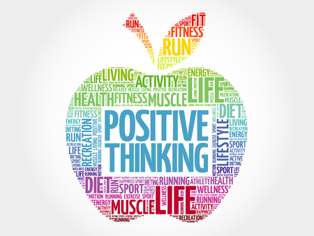 Positive thinking apple word cloud, health concept Çizim