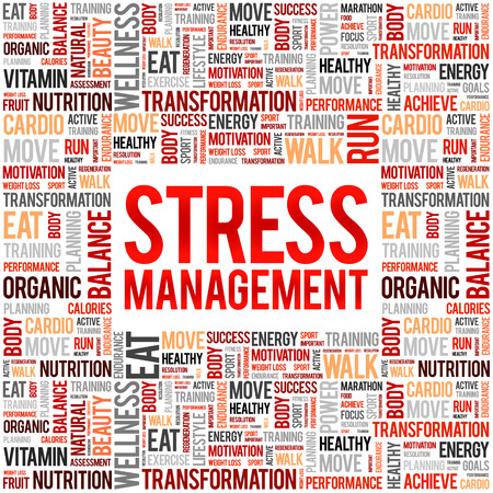 Stress Management word cloud collage, health concept background