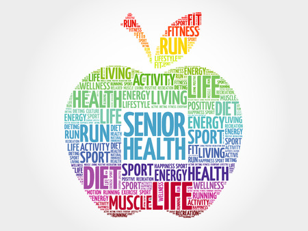 Senior health apple word cloud, health concept