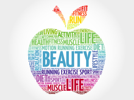 BEAUTY apple word cloud, health concept Illustration