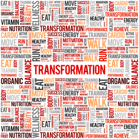 TRANSFORMATION word cloud, fitness, sport, health concept Illustration
