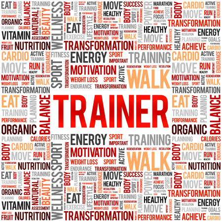 Trainer word cloud background, health concept  イラスト・ベクター素材