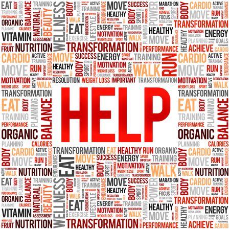 HELP word cloud collage, fitness, health concept