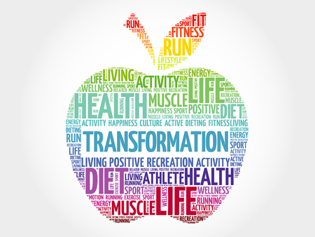 TRANSFORMATION apple word cloud, health concept