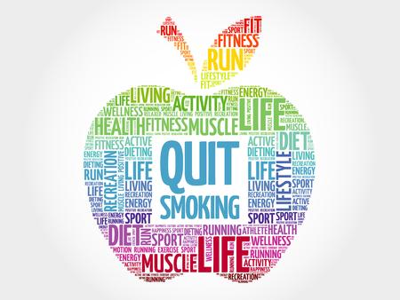 Quit Smoking apple word cloud, health concept Illusztráció