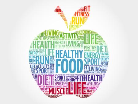 Comida sana manzana palabra nube, concepto de salud