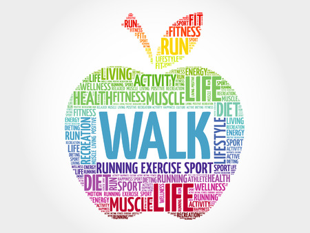 WALK apple word cloud, health concept