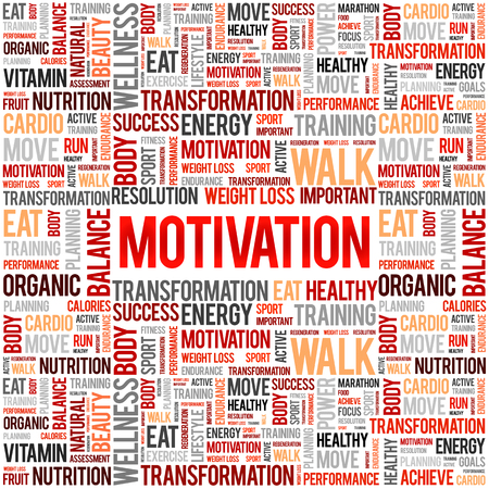 MOTIVATION word cloud collage, health concept background 向量圖像