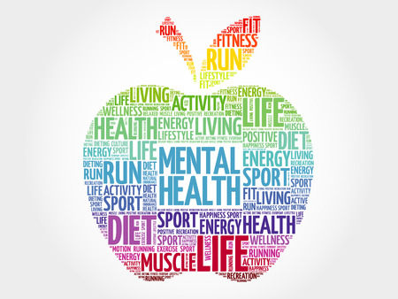 Mental health apple word cloud, health concept