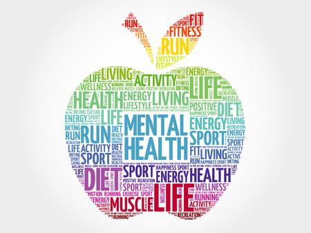 Zdrowie psychiczne jabłko chmura słowa, koncepcja zdrowia