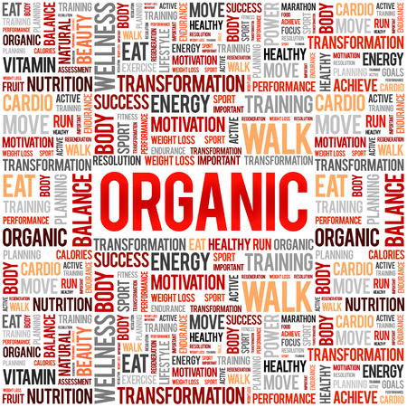 ORGANIC word cloud, fitness, sport, health concept