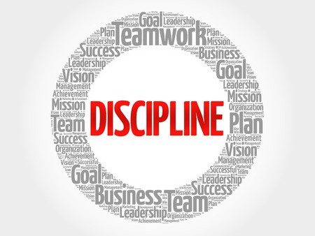 DISCIPLINE word cloud collage, business concept background