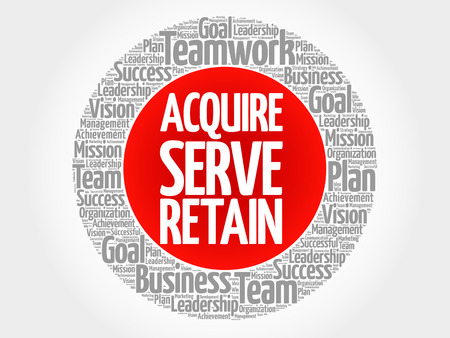 Acquire, Serve and Retain circle word cloud, business concept Illustration