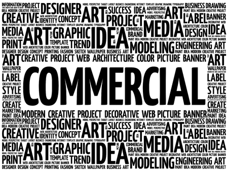 COMMERCIAL word cloud, creative business concept background Illustration