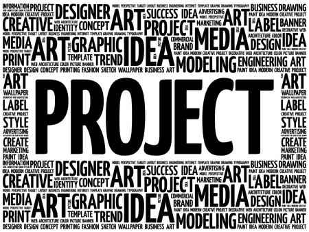 Nube de palabras de proyecto, fondo de concepto de negocio creativo