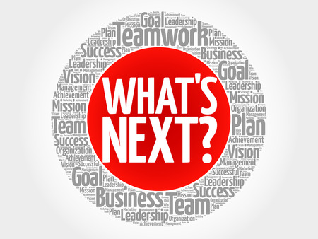Whats Next circle word cloud, business concept