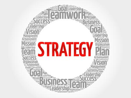 Estrategia palabra nube collage, concepto de negocio de fondo