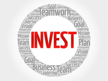 Investir le nuage de mot cercle, concept d'entreprise
