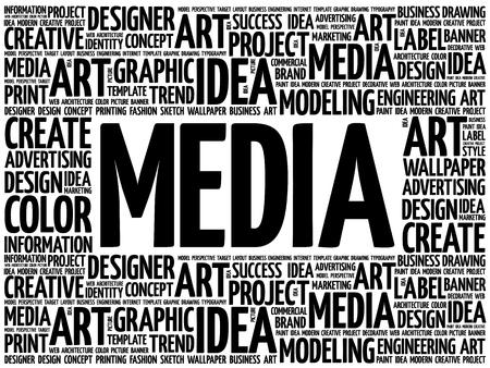 MEDIA word cloud, creative business concept background Stock Illustratie