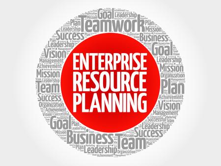 ERP - Nube de palabras del círculo de planificación de recursos empresariales, concepto de negocio Ilustración de vector