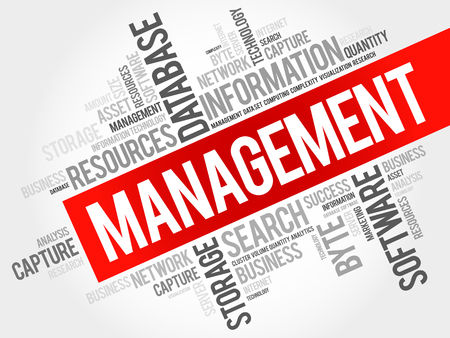 Management word cloud collage, business concept background. Vectores