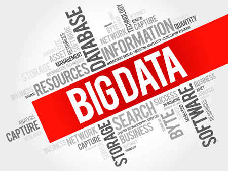 Big data word cloud collage, business concept background.