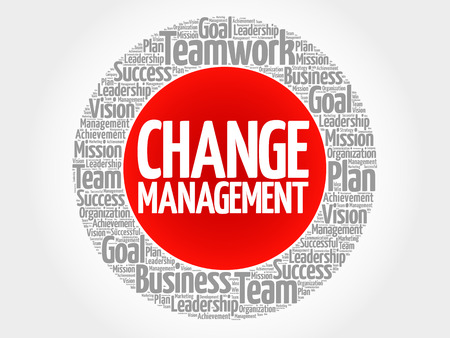 Change management circle stamp word cloud, business concept.