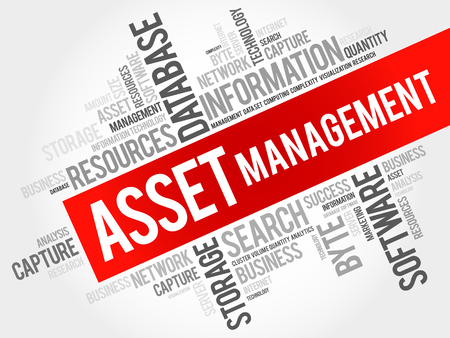 Asset Management word cloud collage, business concept background.