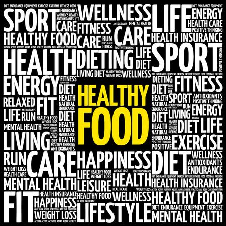 Comida sana nube de palabras de fondo, el concepto de salud