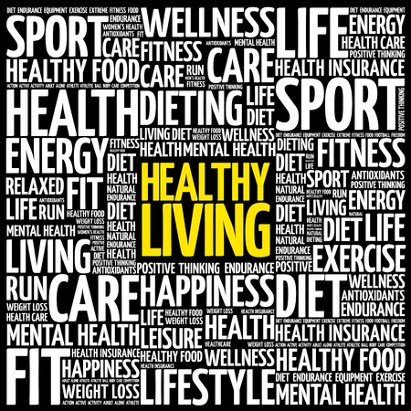 Healthy Living word cloud collage, health concept background