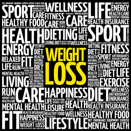 Nuage de mot de perte de poids. fitness, sport, concept de santé