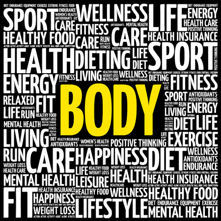 BODY word cloud. fitness, sport, health concept