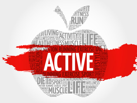 ACTIVE apple word cloud, health concept 일러스트