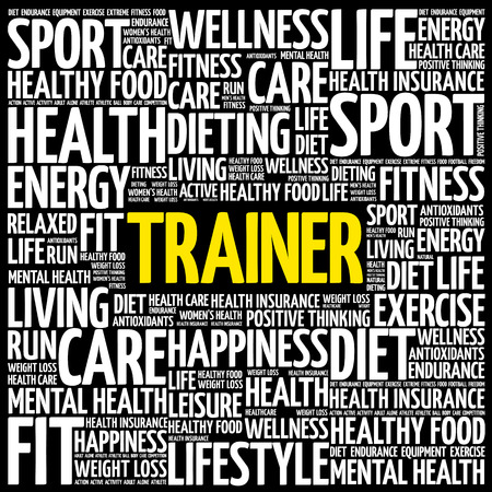 Trainer word cloud background. health concept