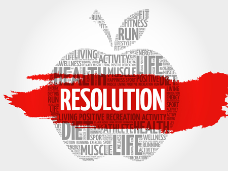 RESOLUTION apple word cloud, health concept Illustration