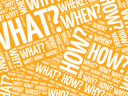 Questions whose answers are considered basic in information gathering or problem solving, word cloud background Illustration