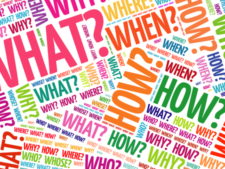 Questions whose answers are considered basic in information gathering or problem solving, word cloud background Vectores