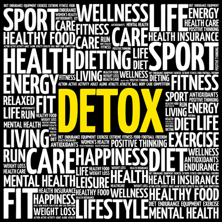 DETOX word cloud background, health concept