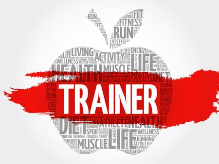 Trainer apple word cloud, health concept  イラスト・ベクター素材