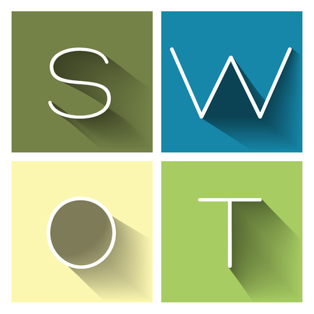 SWOT analysis business strategy management process vector concept