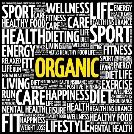 ORGANIC word cloud collage, health concept background Illustration