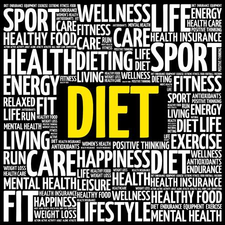 Dieta palabra nube collage, fondo del concepto de salud Foto de archivo - 95893238