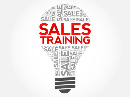 Sales Training bulb word cloud, business concept background Ilustração